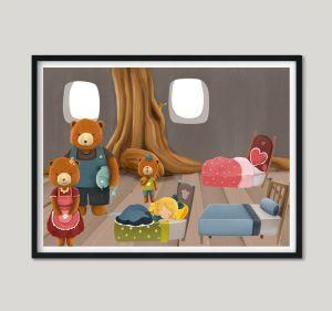 ABC Leg - Guldlok og de tre bjørne plakat - 30 x 40 cm 99-4059