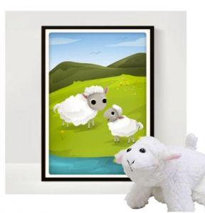 ABC Leg - Plakat med hånddukke lam 99-4414