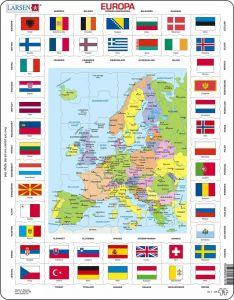 Larsen Puslespil - Europas flag og Europakort 47-LA23101